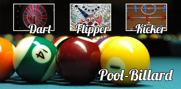 Dart, Flipper, Kicker, Billard